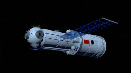 3D model of the   space station flying on black space with stars background. 3D Illustration