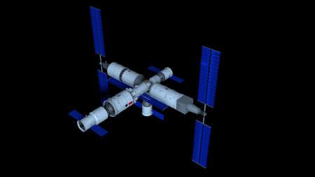 3D model of the  Space Station  vehicle on black background. 3D Illustration