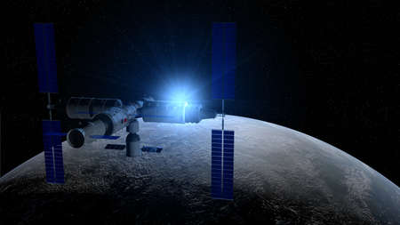 View of   space station orbiting the planet Earth on black space with stars background and a glow of blue light behind the planet. 3D Illustration