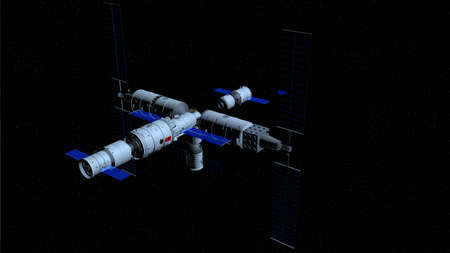 space station on black space with stars background. 3D Illustration