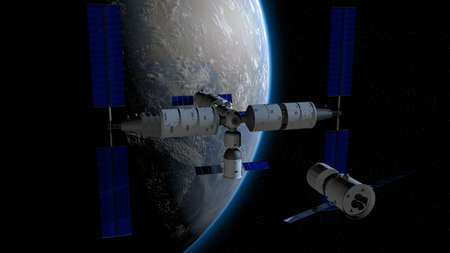 space station with the planet Earth behind on black space with stars background. 3D Illustration Imagens
