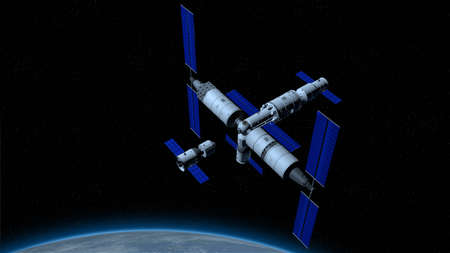 space station with the planet Earth below on black space with stars background. 3D Illustration Imagens