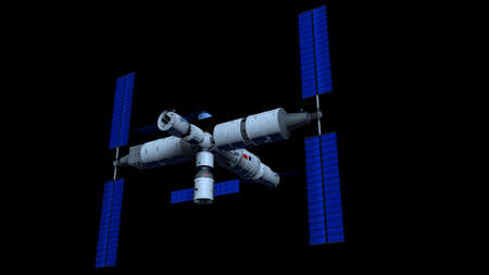 Space Station  vehicle on black background. 3D Illustration