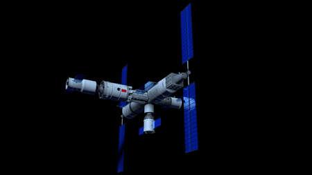 Space Station  vehicle on black background. 3D Illustration