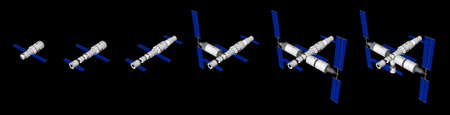 Space Station, space vessels  on black background. 3D Illustration Imagens