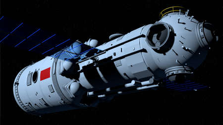 space station flying on black space with stars background. 3D Illustration