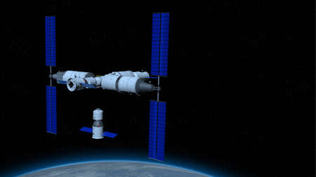 space vessel, space station with the planet Earth below on black space with stars background. 3D Illustration Stock Photo