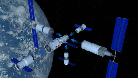 space station  with the planet Earth behind on black space with stars background. 3D Illustration Stock Photo
