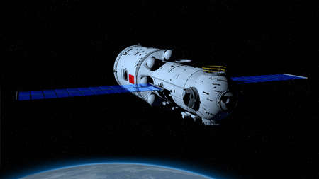 space station orbiting the planet Earth behind on black space with stars background. 3D Illustration