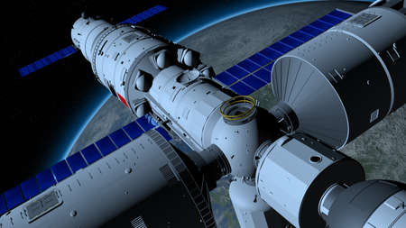 space station orbiting the planet Earth on black space with stars background. 3D Illustration