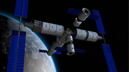 space station with the planet Earth behind on black space with stars background. 3D Illustration Stock Illustration - 128723624