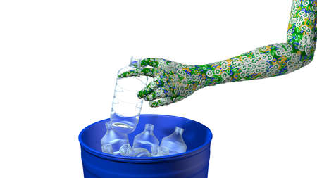 Close up on a green mans arm covered by green, blue and yellow circles with the recycling symbol by placing a plastic bottle in a blue dump. 3D Illustration
