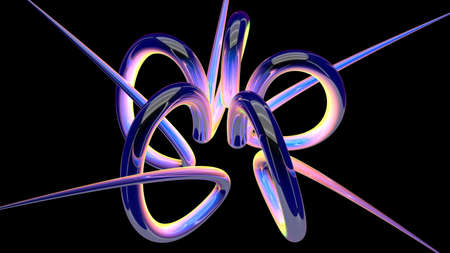 5 thick blue, pink, yellow and green lines in motion with interlaced reflective surface creating a knot on a black background. 3D Illustration