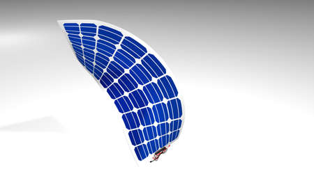 3D model of a flexible solar panel with black and red connection cables on white background - Renewable Energy - 3D Illustration Imagens