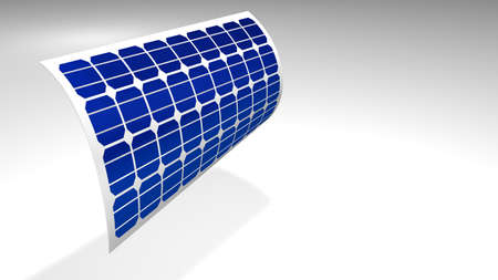3D model of a thin flexible solar panel bending over white background - Renewable Energy - 3D Illustration