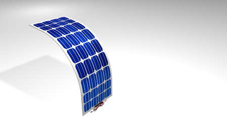 3D model of a flexible solar panel with black and red connection cables on white background - Renewable Energy - 3D Illustration Stock Photo