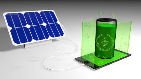 Solar panel charging a cell phone with the green screen where a green battery comes from, with leaves and green energy symbol on white background. 3D Illustration