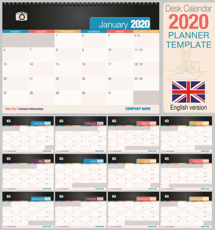 Useful desk calendar 2020 with space to place a photo. Size: 210 mm x 148 mm. English version - Vector image