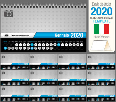 Useful desk triangle calendar 2020 template, with space to place a photo. Size: 22 cm x 12 cm. Format horizontal - vector image. Italian version Illustration