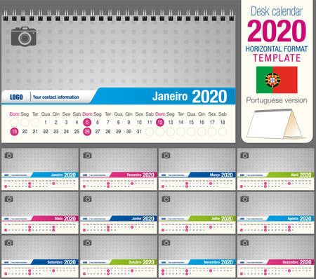 Useful desk triangle calendar 2020 template, with space to place a photo. Size: 22 cm x 12 cm. Format horizontal - vector image. Portuguese version