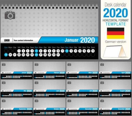 Useful desk triangle calendar 2020 template, with space to place a photo. Size: 22 cm x 12 cm. Format horizontal - vector image. German version