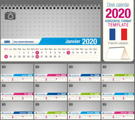 Useful desk triangle calendar 2020 template, with space to place a photo. Size: 22 cm x 12 cm. Format horizontal - vector image. French version