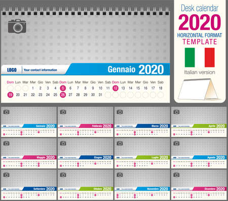Useful desk triangle calendar 2020 template, with space to place a photo. Size: 22 cm x 12 cm. Format horizontal - vector image. Italian version Ilustração