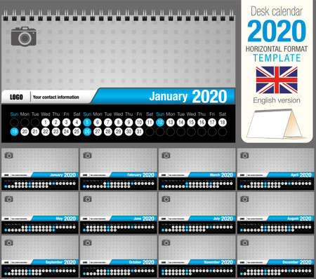 Useful desk triangle calendar 2020 template, with space to place a photo. Size: 22 cm x 12 cm. Format horizontal - vector image. English version