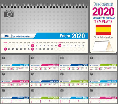 Useful desk triangle calendar 2020 template, with space to place a photo. Size: 22 cm x 12 cm. Format horizontal - vector image. Spanish version Illustration