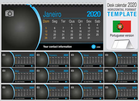 Useful desk triangle calendar 2020 template on black background, with space to place a photo. Size: 22 cm x 10 cm. Format horizontal - Portuguese version. Vector image Ilustração