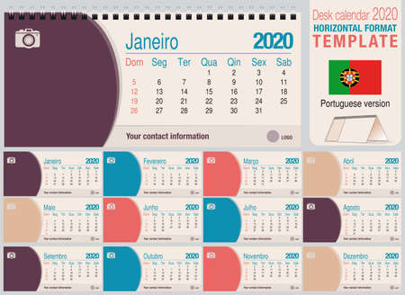 Useful desk triangle calendar 2020 template, with space to place a photo. Size: 22 cm x 10 cm. Format horizontal - Portuguese version. Vector image