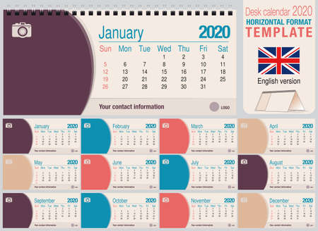 Useful desk triangle calendar 2020 template, with space to place a photo. Size: 22 cm x 10 cm. Format horizontal - English version. Vector image Illustration