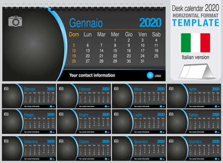 Useful desk triangle calendar 2020 template on black background, with space to place a photo. Size: 22 cm x 10 cm. Format horizontal - Italian version. Vector image Ilustração