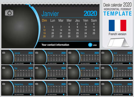 Useful desk triangle calendar 2020 template on black background, with space to place a photo. Size: 22 cm x 10 cm. Format horizontal - French version. Vector image