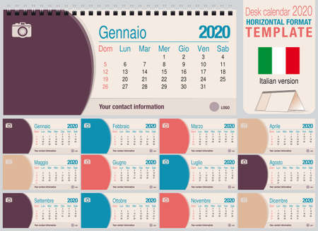 Useful desk triangle calendar 2020 template, with space to place a photo. Size: 22 cm x 10 cm. Format horizontal - Italian version. Vector image