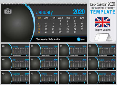 Useful desk triangle calendar 2020 template on black background, with space to place a photo. Size: 22 cm x 10 cm. Format horizontal - English version. Vector image
