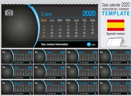 Useful desk triangle calendar 2020 template on black background, with space to place a photo. Size: 22 cm x 10 cm. Format horizontal - Spanish version. Vector image Illustration
