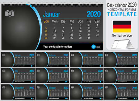 Useful desk triangle calendar 2020 templateon black background, with space to place a photo. Size: 22 cm x 10 cm. Format horizontal - German version. Vector image