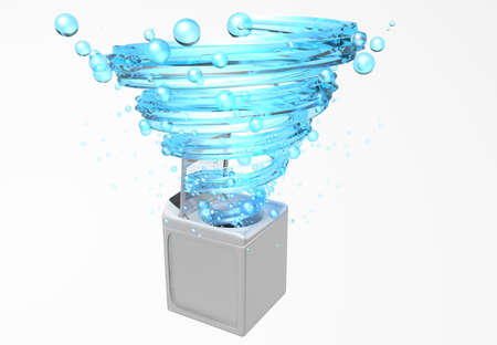 Front view of clothes washing machine with the door open, inside it comes a blue water jet in the form of a spiral with bubbles floating in white background. 3D Illustration