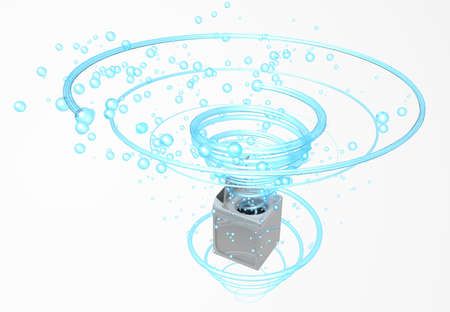 Top view of clothes washing machine with the door open, inside it comes a blue water jet in the form of a spiral with bubbles floating in white background. 3D Illustration