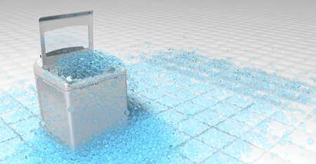 White clothes washing machine with the door open on top of which blue round bubbles overflowing the floor of white squares overflow. 3D Illustration Reklamní fotografie