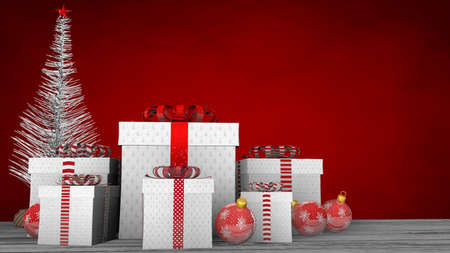 Front view of group of white gift boxes with ribbon and red bows on a white wooden floor adorned with red balls and white Christmas tree on a red background. 3D Illustration Reklamní fotografie