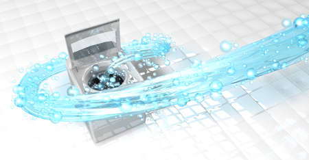 Top view of clothes washing machine with the door open, inside it comes a blue water jet in the form of a spiral with bubbles floating over the floor of white squares. 3D Illustration