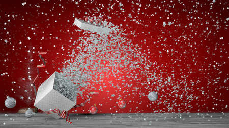 Front view of white gift box with red ribbon exploding inside a large number of white stars, the box lid flies out. The box is on a gray wooden floor on red background with decorative balls on the floor. 3D Illustration