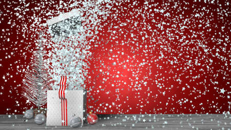Front view of white gift box with red ribbon exploding inside a large number of white stars, the box lid flies out. The box is on a gray wooden floor on red background and a white Christmas tree and decorative balls on the floor. 3D Illustration