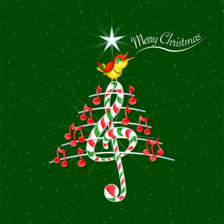 Christmas tree made of red musical notes, candy bar shaped treble clef and pentagram with yellow bird singing and title: MERRY CHRISTMAS on green background with stars - Vector image Illustration