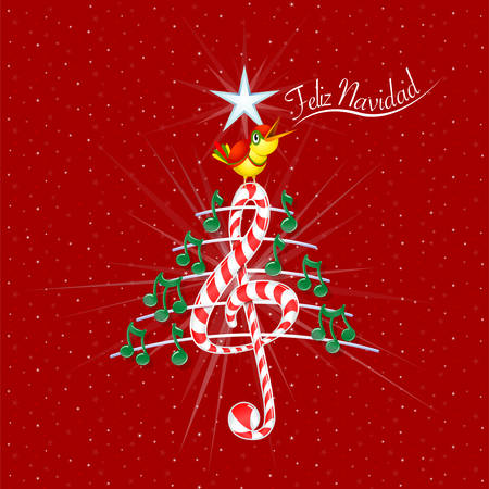 Christmas tree made of green musical notes, candy bar shaped treble clef and pentagram with title: FELIZ NAVIDAD -MERRY CHRISTMAS in spanish language- on red background with stars  - Vector image Ilustrace