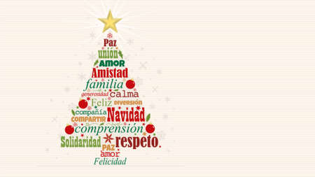 Greeting card with red and green words in Spanish language forming a Christmas tree with a bright star on the tip on a white background with snowflakes. Word Cloud design. Vector image