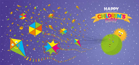 Happy Childrens Day greeting card. Children running on a green planet flying many yellow, green and red kites in the foreground with a happy sun behind the planet over a purple sky in the background with white stars and the title on a yellow ribbon. Vector image Ilustrace