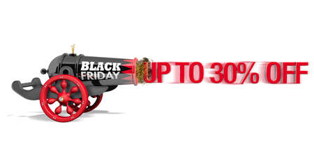 Old black and red cannon with with red wood wheels and the text BLACK FRIDAY viewed from side firing the red message UP TO 30% OFF with speed effect on white background. 3D Illustration